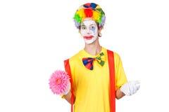 Clown met bloem Royalty-vrije Stock Afbeelding