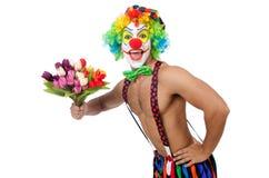 Clown met bloemen Royalty-vrije Stock Foto's