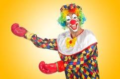 Clown met bokshandschoenen Royalty-vrije Stock Afbeelding