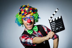 Clown met de film Royalty-vrije Stock Fotografie