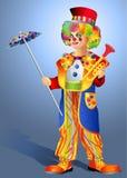 Clown met een paraplu Royalty-vrije Stock Foto