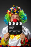 Clown met film Royalty-vrije Stock Foto