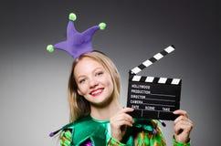 Clown met film Royalty-vrije Stock Foto's