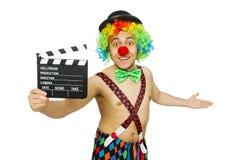 Clown met filmraad Stock Afbeeldingen