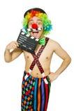 Clown met filmraad Stock Foto