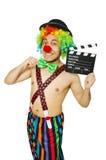 Clown met filmraad Royalty-vrije Stock Foto's
