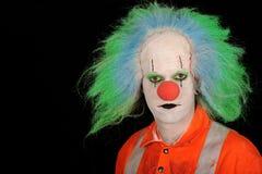 Clown met groen haar Stock Afbeelding