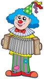 Clown met harmonika Stock Afbeeldingen