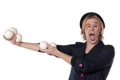 Clown met het jongleren van met ballen Stock Fotografie