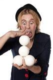Clown met het jongleren van met ballen Royalty-vrije Stock Fotografie