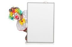 Clown met lege raad Stock Afbeelding