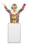 Clown met lege raad Royalty-vrije Stock Foto's