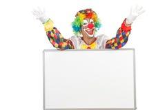 Clown met lege raad Stock Foto