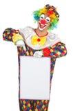 Clown met lege raad Royalty-vrije Stock Fotografie