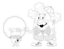 Clown met opgeleide hond, contour stock illustratie