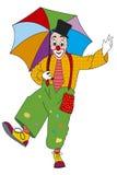 Clown met paraplu Stock Illustratie