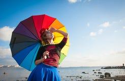 Clown met paraplu Royalty-vrije Stock Fotografie