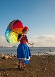 Clown met paraplu Royalty-vrije Stock Afbeelding