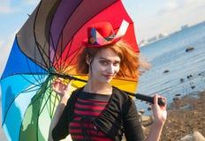 Clown met paraplu Stock Foto's