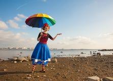 Clown met paraplu Royalty-vrije Stock Foto's
