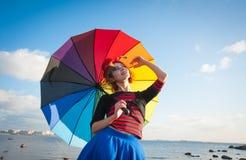 Clown met paraplu Stock Afbeeldingen