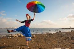 Clown met paraplu Stock Fotografie