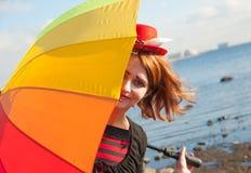 Clown met paraplu Royalty-vrije Stock Afbeeldingen