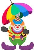 Clown met paraplu vector illustratie