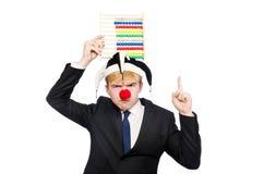 Clown met telraam Royalty-vrije Stock Foto's