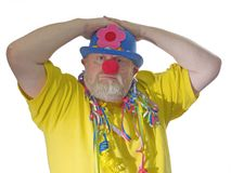 Clown met valse neus Stock Foto
