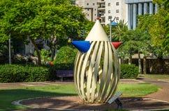 Clown metal sculpture in city park Stock Photo
