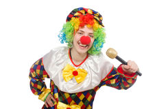 The clown with mic isolated on white background Stock Photos