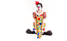 Circus Clown Excited Dancing Jumping Mid-Air Stock Photography
