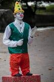 Pinocchio Clown Mime Artist Street Entertainer Stock Photo
