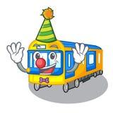 Clown miniature subway train cartoon above table. Vector illustration vector illustration