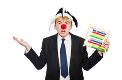 Clown mit dem Abakus lokalisiert Lizenzfreies Stockfoto
