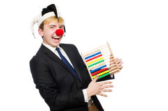 Clown mit dem Abakus lokalisiert Lizenzfreies Stockbild
