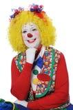 Clown mit dem gelben Haar-Lächeln lizenzfreie stockbilder