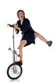 Clown mit einem Unicycle Lizenzfreie Stockbilder