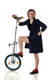 Clown mit einem Unicycle Stockbild