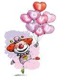 Clown mit Herz-Ballonen ich liebe dich sagend stock abbildung