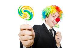 Clown mit Lutscher Stockfotografie