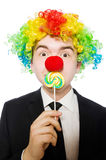 Clown mit Lutscher Stockfoto