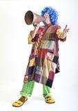 Clown mit Megaphon Stockfotos