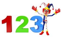 Clown mit mit Zeichen 123 Stockfoto