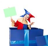 Clown mit unbelegter Karte Stockbild