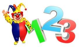 Clown mit Zeichen 123 Stockbild