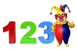 Clown mit Zeichen 123 Stockfotografie