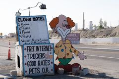 Clown Motel sign in Tonopah Nevada, is a kitschy roadside attrac