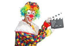 Clown with movie board Royalty Free Stock Images